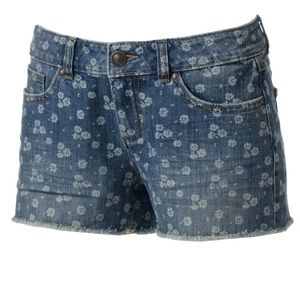 Lauren Conrad Floral Distressed Denim Shorts